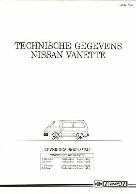 1990/91 Nissan Vanette Specification Brochure (Dutch)