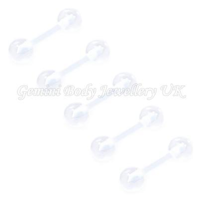 Pack of 5 Flexible acrylic cartilage/tragus retainers 16 Gauge (1.2mm x 8mm)