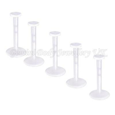 Pack of 5 Clear Bio Flexible Push Fit Lip Labret Retainers 16G (1.2mm x 10mm)