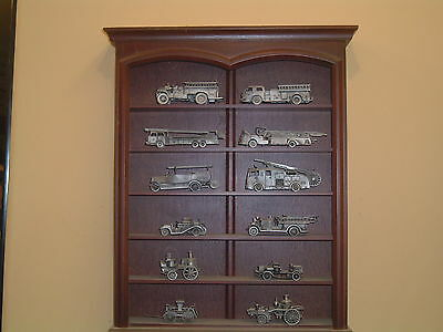 FIRE ENGINES OF THE WORLD 12 PEWTER FIRE TRUCKS FRANKLIN MINT 1:43 & DISPLAY
