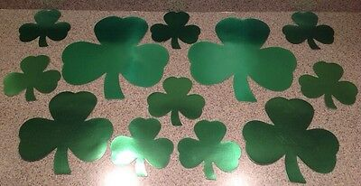 FOUR LEAF CLOVERS METALLIC GREEN PAPER CARDBOARD HOLIDAY WINDOW DECALS
