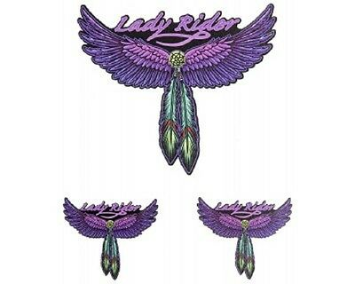 #5 - LADY RIDER Feathers & Wings Helmet / Tank sticker pack (1002) 3 Decals
