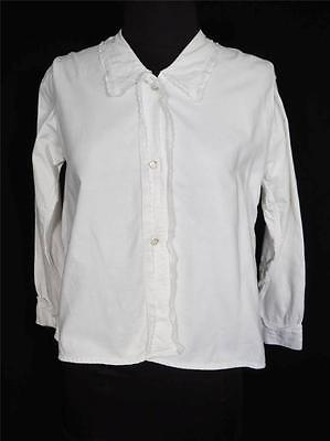 Very Rare Antique French Edwardian White Cotton Blouse Size Medium 38