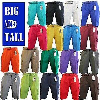 Men Big and Tall BTL Cargo Shorts With Belt Cotton Twill 18 Colors Size 44 ~ 56