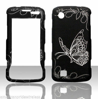 Silver Butterfly on Black for  LG Chocolate touch VX8575 Case Cover Protector
