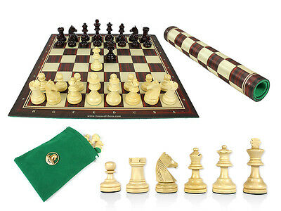 """Louis Staunton Chess Set Pieces 2-1/2"""" Rosewood Colored + Chess Board 13"""" + Bag"""