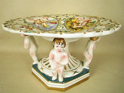 Vintage Capodimonte Italy Large Footed Centerpiece Bowl