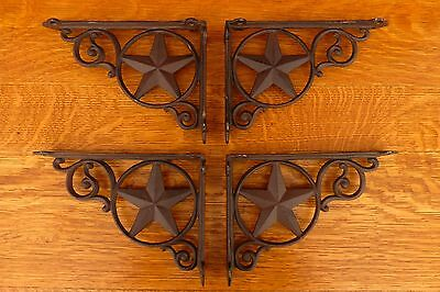 "4 BROWN ANTIQUE-STYLE 9"" CAST IRON STAR SHELF BRACKETS rustic western country"