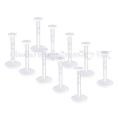 Pack of 10 Clear Bio Flexible Push Fit Lip Labret Retainers 16G (1.2mm x 10mm)