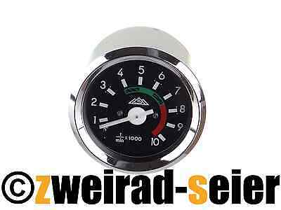 Tachometer Ø 2 3/8in with Chrome Ring 12V earth-connection Simson S50 S51