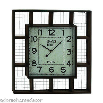 Large Metal Industrial Grand Hotel Square Wall Clock Vintage Antique Rustic Chic