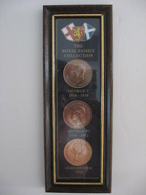 The Royal Family Collection 3 mint coins George V, George VI and Elizabeth II