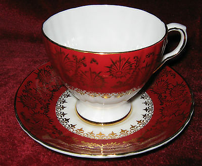 1 - Royal Grafton Red & Gold Tea Cup and Saucer  (2014-087)