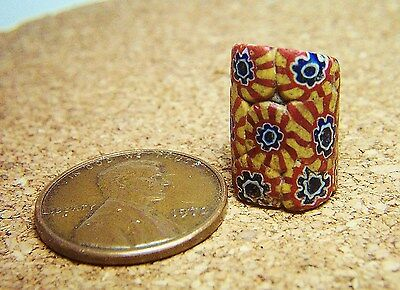 Old Gold, Blue & Brick Red Millefiori Fancy Venetian Glass African Trade Bead