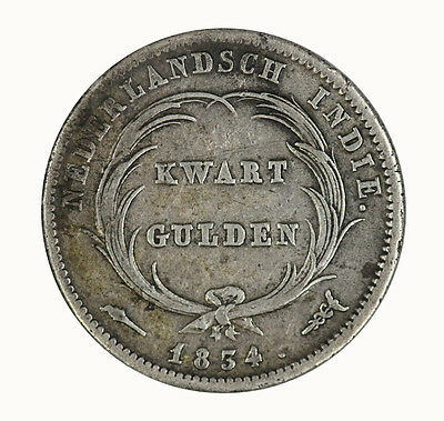 Netherlands East Indies 1834 1/4 Gulden Coin EF