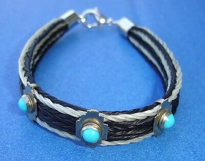 """Western Cowboy/Cowgirl Jewelry Woven Horsehair Bracelet W/Faux Turquoise 7 3/4"""""""