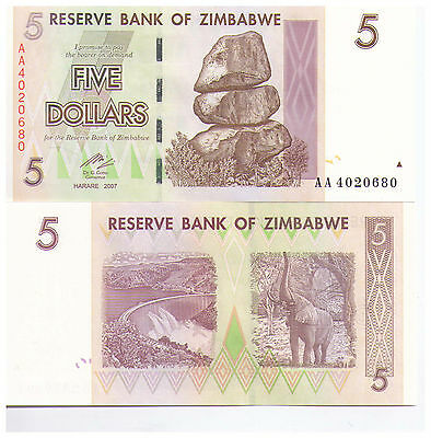 2007 $5 Zimbabwe Banknote - Uncirculated