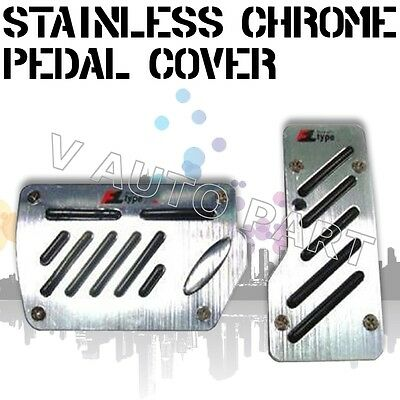 2 x Non slip Automatic Transmission AT CAR TRUCK CHROME PEDAL Foot PAD COVER