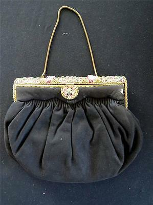 "Rare  Vintage French 1950's Black Beaded And Cloisonne Evening Bag 9""x7""x1 1/2"""
