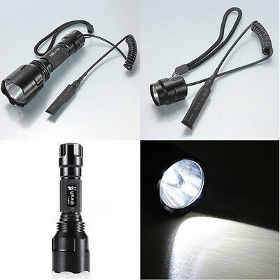 C8 Tactical Flashlight Cree XM-L T6 2000LM LED +Remote Pressure Switch