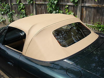 Mazda Mx5 MK2 Soft Top Beige Vinyl Hood with Glass Window