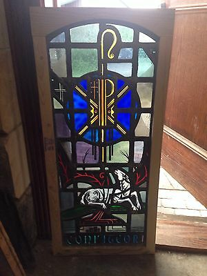 Antique Stain Glass Painted And Fire Glass In A New Frame Sg 29
