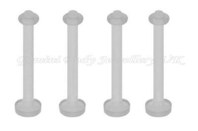 Pack of 10 Flexible acrylic Tongue bar retainers 14 Gauge (1.6mm x 15mm)