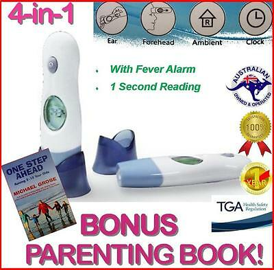 Digital Baby Child Adult Thermometer Infrared 4-in-1 Ear Forehead + BONUS BOOK!