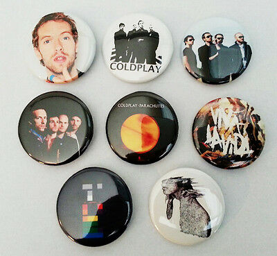 8 piece lot of Coldplay pins buttons badges