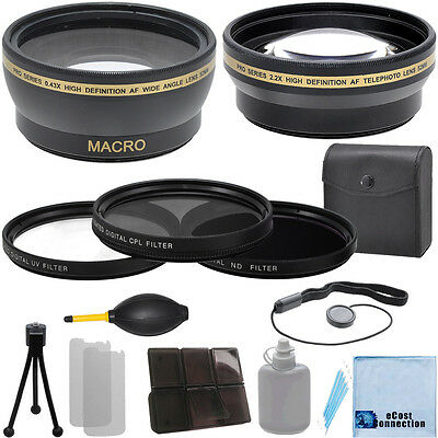 58mm 0.43x Wide Angle 2.2x Telephoto Lens, Filter Kit f/ Canon Nikon Sony &More