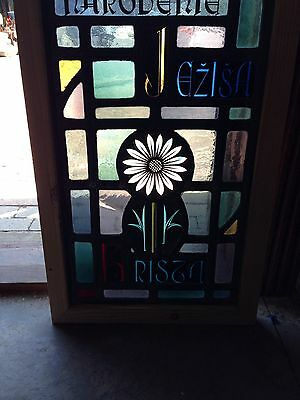 Antique Painted And Fired Religious Symbolism Window Flower Sg 51