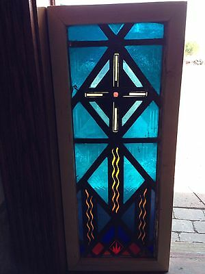 Antique Stain Glass Window Painted And Fired Depicting Flames And Across Sg 53