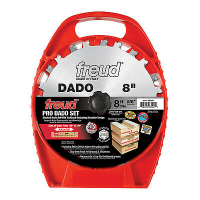 "Freud SD208 8"" Stacked Pro Dado Set for Flat Bottom Grooves with 5/8"" Arbor"