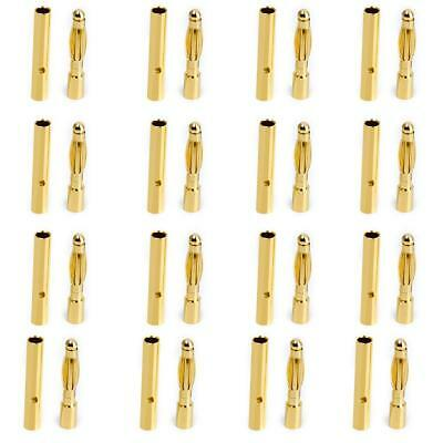 20Pair 2mm Gold-plated Male Female Bullet Banana Plug Motor Electronic Connector
