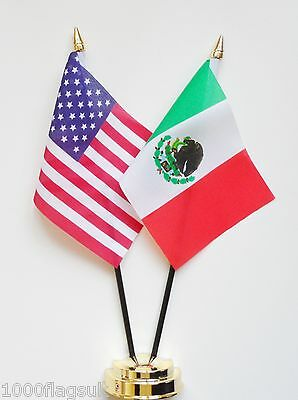 United States of America & Mexico Double Friendship Table Flag Set