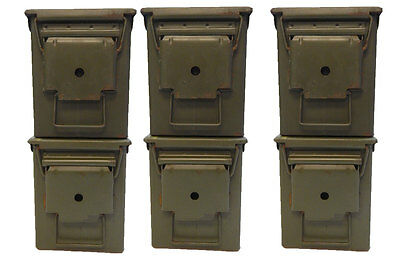 6 Pack .50 Cal Ammo Steel Storage Cans  (empty no ammo) Medium Use