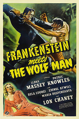 Frankenstein Meets The Wolf Man - Lon Chaney Jr - A4 Laminated Mini Poster
