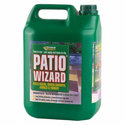Everbuild Patio Wizard Moss Mould Killer Moss Away 5L Kills Algae Patio Cleaner
