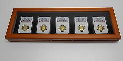 GLASS TOP WOOD DISPLAY BOX for 5 CERTIFIED COIN SLABS from PCGS or NGC