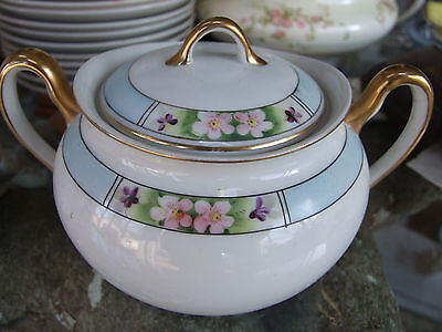 Nippon Hand Painted Meito Noritake COVERED SUGAR BOWL Free Ship! MEI63
