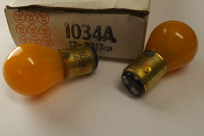 2 pc Vtg Westinghouse 1034A Painted Amber Stop/Turn Signal Taillight Bulbs 1157