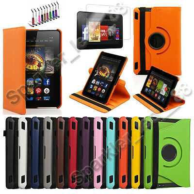 """360 Rotating PU Leather Case Cover w Stand For Amazon HDX 7"""" Kindle Fire"""