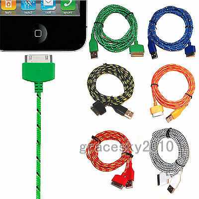 3Ft 6Ft USB Braided Sync Data Transfer Charger Cable for iPhone 4 4S Ipad1 2 3
