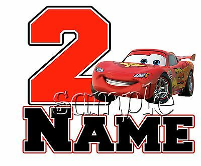 IRON ON TRANSFER PERSONALISED birthday ANY NAME NUMBER CARS LIGHTNING MCQUEEN