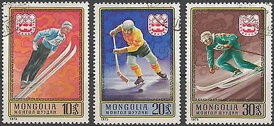 1975 Mongolia, Winter Olympics, Innsbruck. Partial set, 3v. FU.