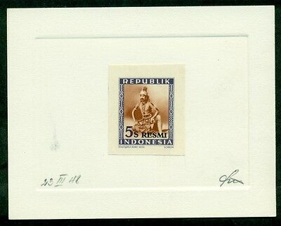 INDONESIA #O8 5s Official , PROOF on Due Sunk card, signed, only 3 made, XF