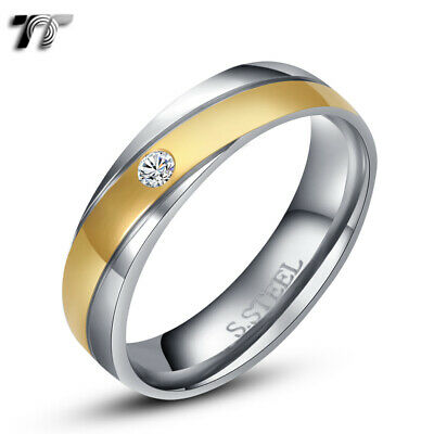 TT Gold Stripe S.Steel Wedding Comfort Band Ring Size 5-15 Mens & Womens (R130)