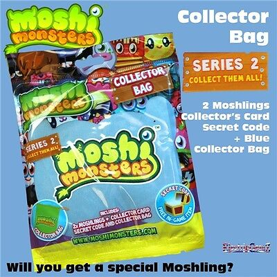 Moshi Monsters Series Two Blue Collector Bag inc 2 Moshlings Card & Secret Code
