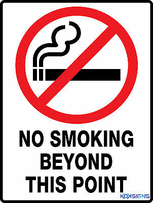 No Smoking Beyond This Point -- 300 X 225Mm Metal Sign -- Workplace Safety Sign