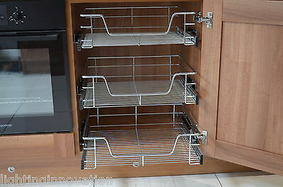 Pull Out Wire Baskets  Kitchen Cabinet Larder Cupboards 300 400 500 600 800 900